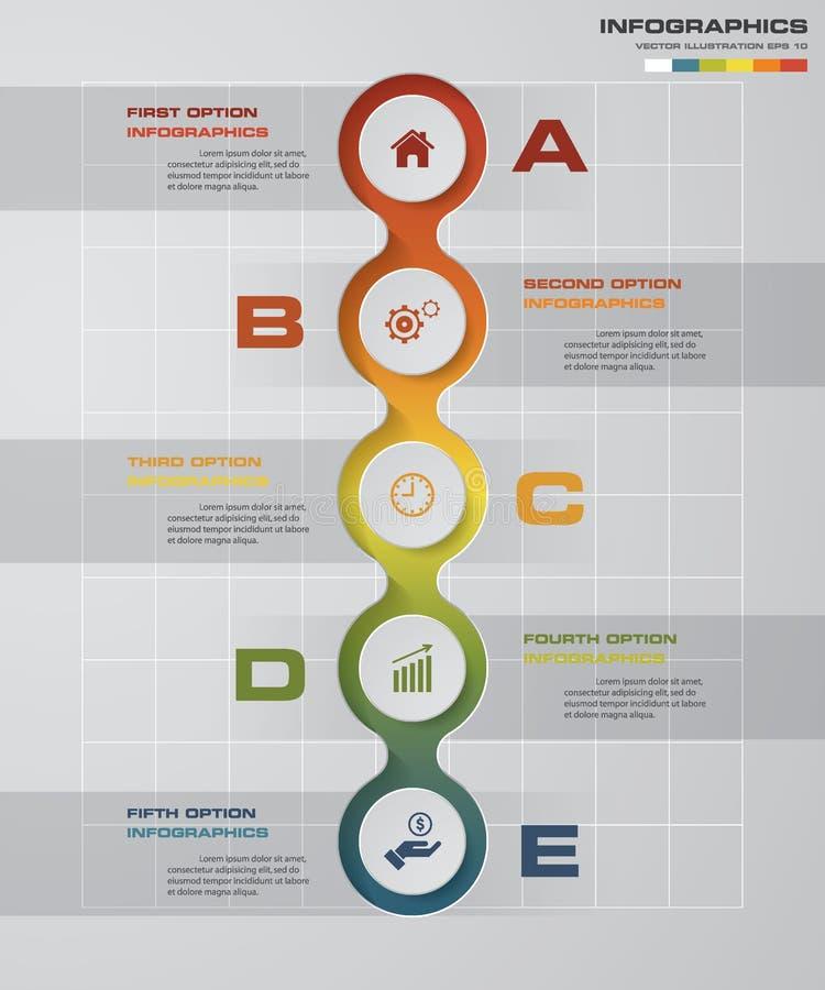 5 Schritte stellen Schablonen-/Grafik- oder Websiteplan grafisch dar vektor abbildung