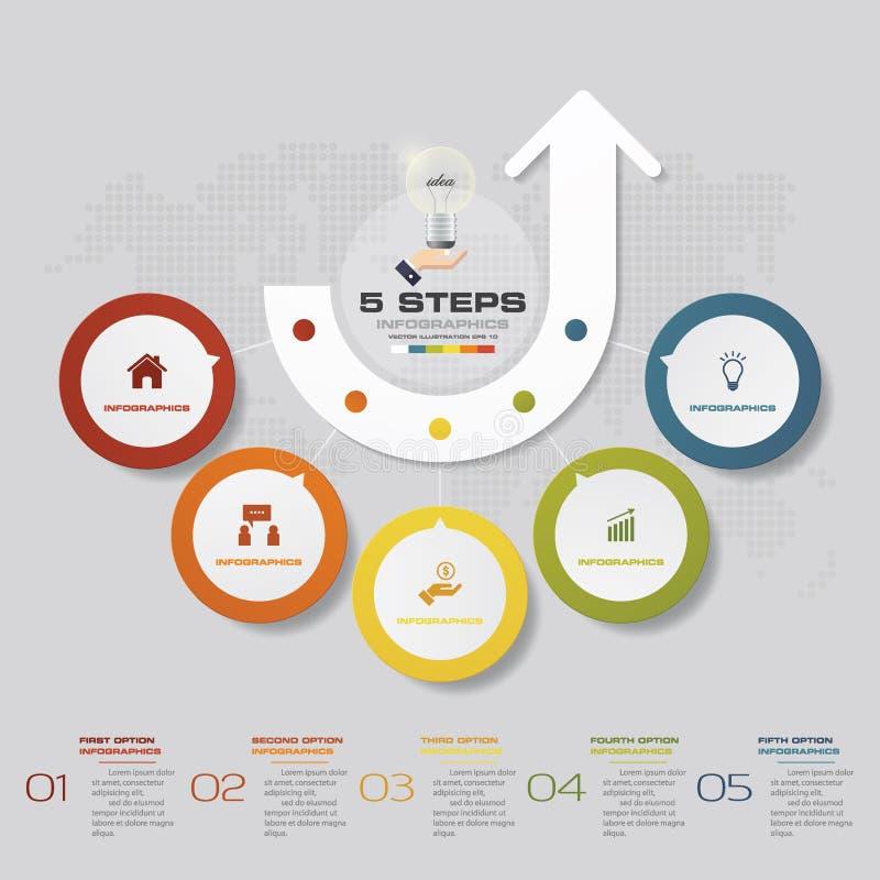 5 Schritte verarbeiten infographics Element für Darstellung vektor abbildung