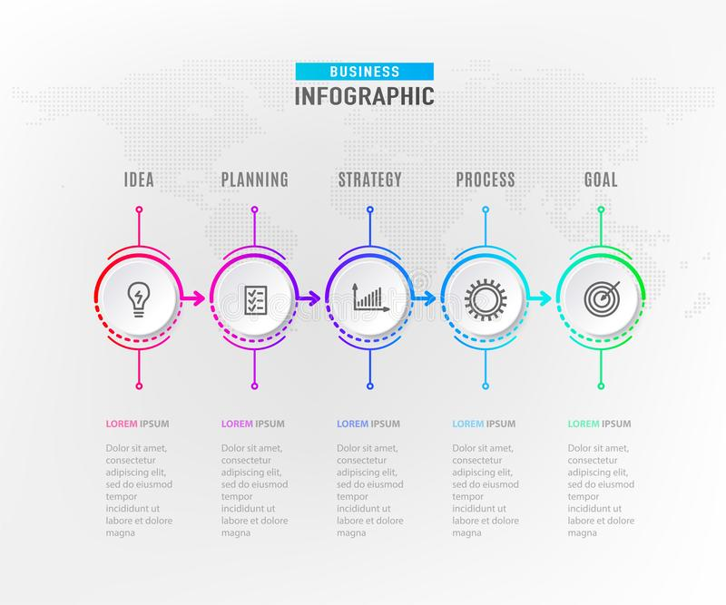 Schrittelement Infograph 5 Grafisches Nomogramm des Kreises, Geschäftszeitachsegrafikdesign in der Regenbogenfarbe mit Ikonen lizenzfreie abbildung