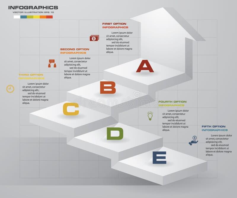 Schrittgeschäfts-Darstellungsschablone der Zusammenfassung 5 Infographics der Treppe mit 5 Schritten mit Pfeil lizenzfreie abbildung