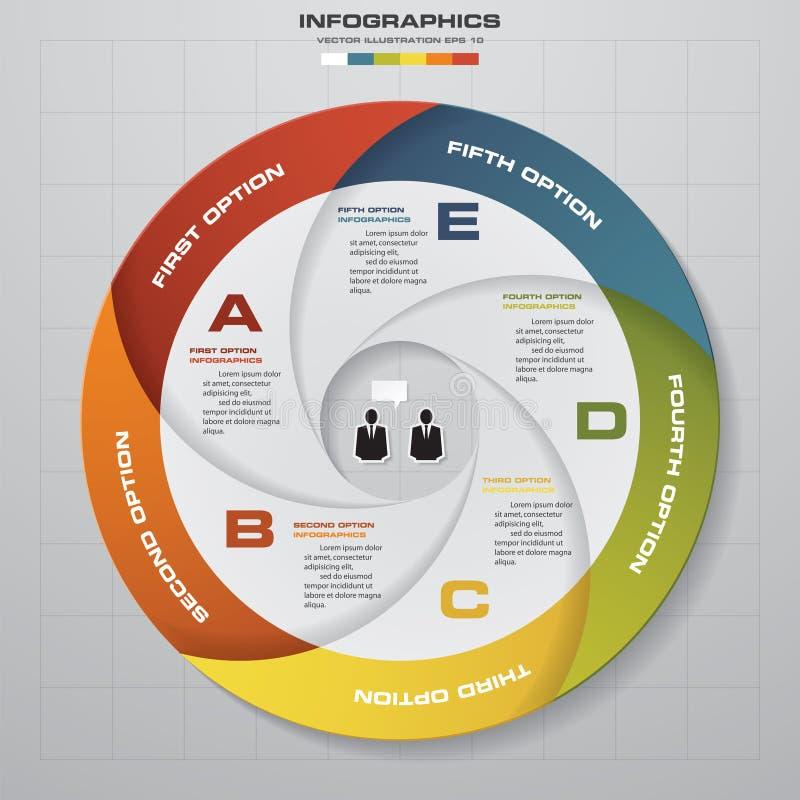 5 Schrittvektor-Kreispfeile für infographic Schablone für Diagramm stock abbildung