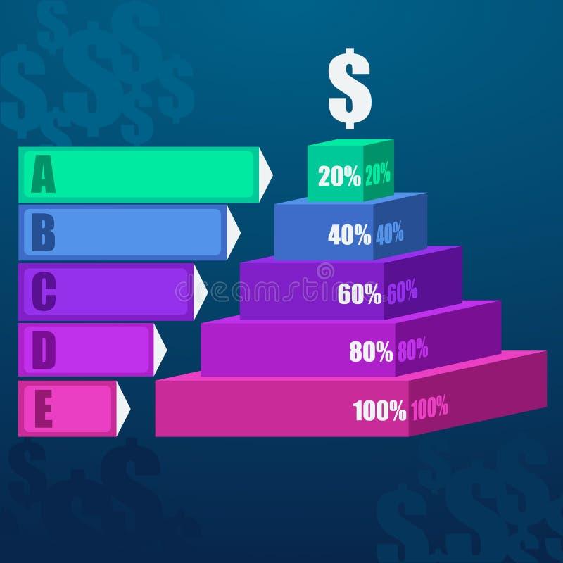 Schrittwahlen des Geschäfts 3d des Treppenhausdiagramms moderne vektor abbildung