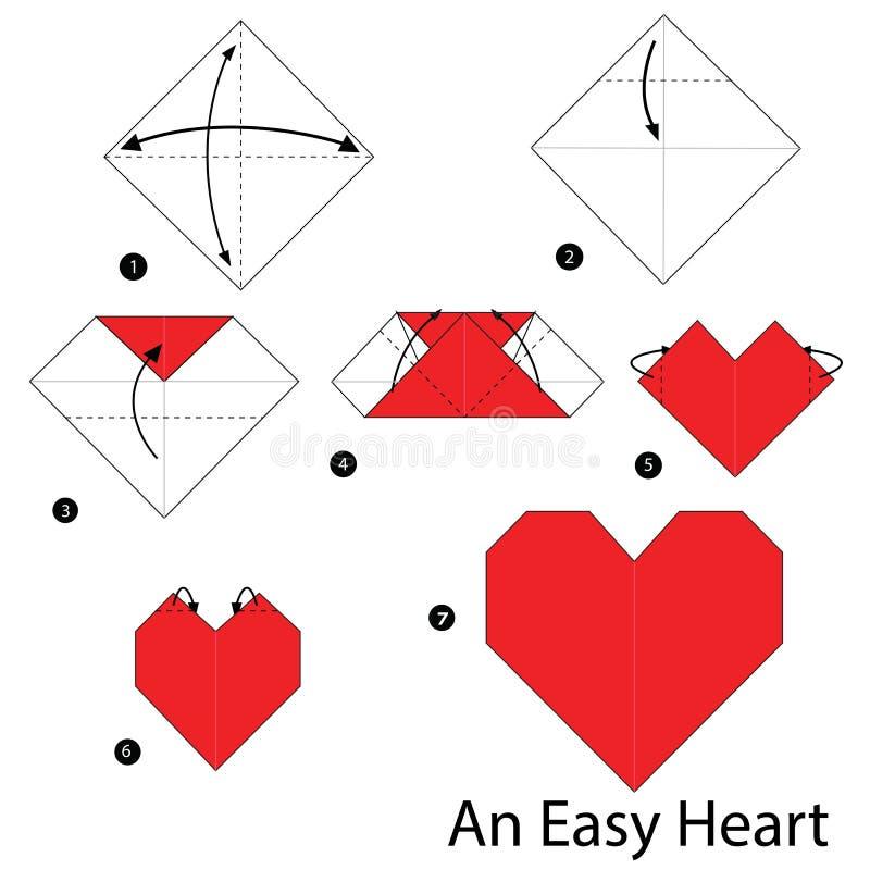 Schrittweise Anweisungen, wie man Origami ein einfaches Herz macht stockfotos