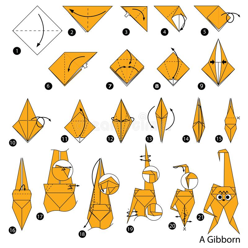 Schrittweise Anweisungen, wie man Origami ein Gibborn macht lizenzfreie stockbilder