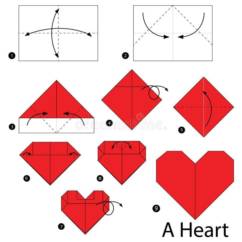 schrittweise Anweisungen, wie man Origami ein Herz macht lizenzfreie stockbilder