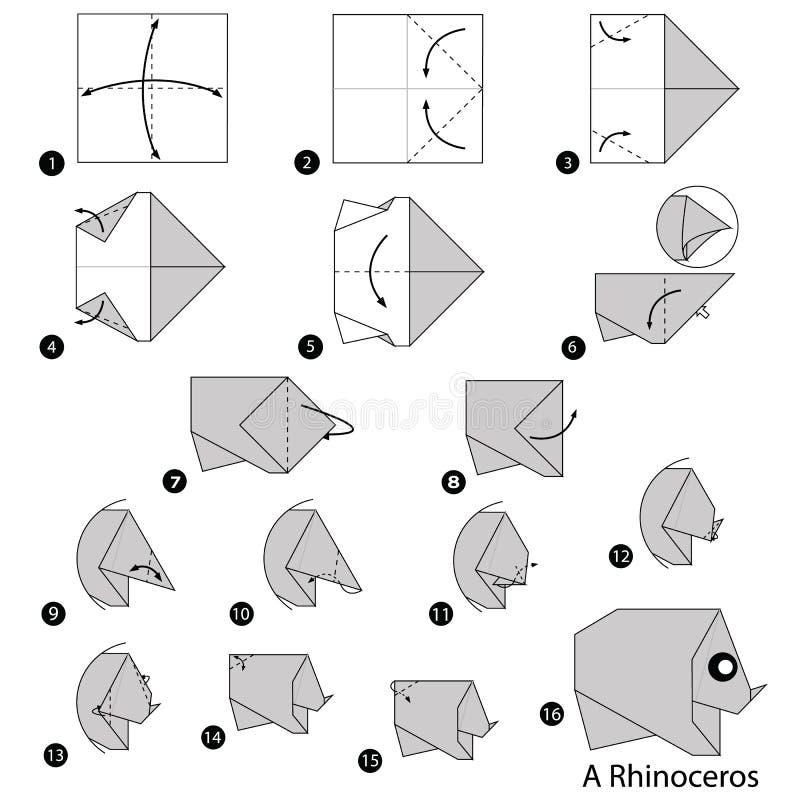 Schrittweise Anweisungen, wie man Origami ein Nashorn macht stock abbildung