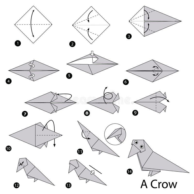 Schrittweise Anweisungen, wie man Origami eine Krähe macht lizenzfreie stockfotografie