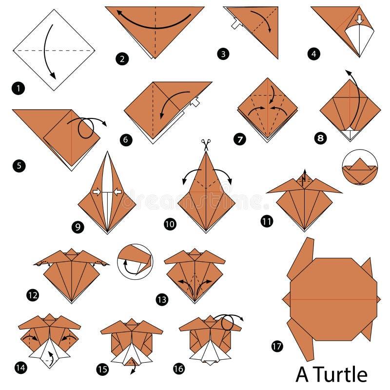 Schrittweise Anweisungen, wie man Origami eine Schildkröte macht lizenzfreie abbildung