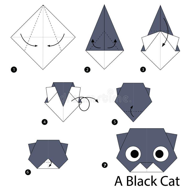 Schrittweise Anweisungen, wie man Origami eine schwarze Katze macht lizenzfreies stockfoto