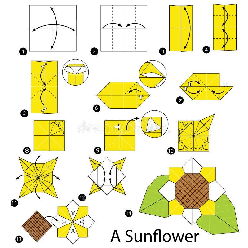 Schrittweise Anweisungen, wie man Origami eine Sonnenblume macht stockbilder