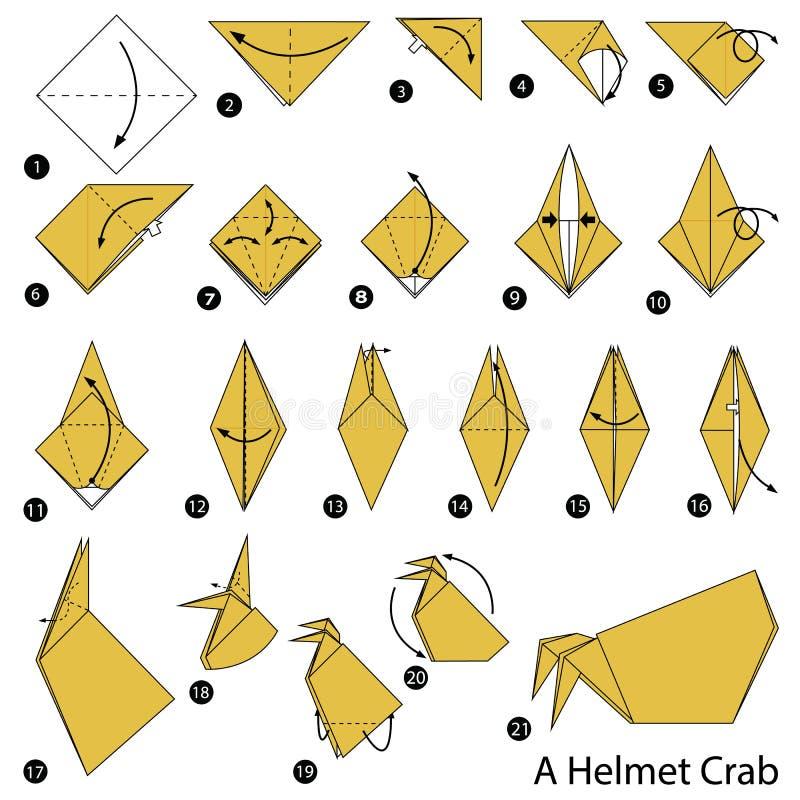 Schrittweise Anweisungen, wie man Origami eine Sturzhelm-Krabbe macht stock abbildung