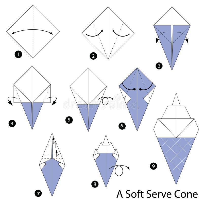 Schrittweise Anweisungen, wie man Origami eine weiche Creme macht lizenzfreie abbildung