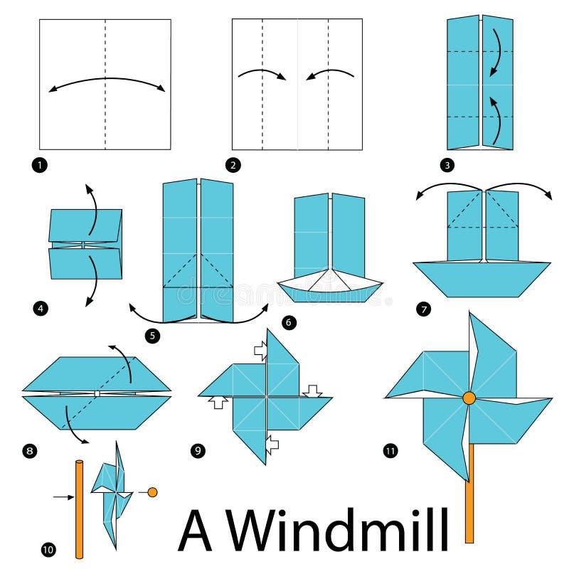 Schrittweise Anweisungen, wie man Origami eine Windmühle herstellt stockbild