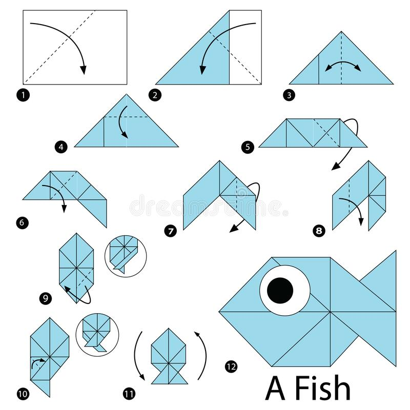 Schrittweise Anweisungen, wie man Origami einen Fisch macht stockfotos