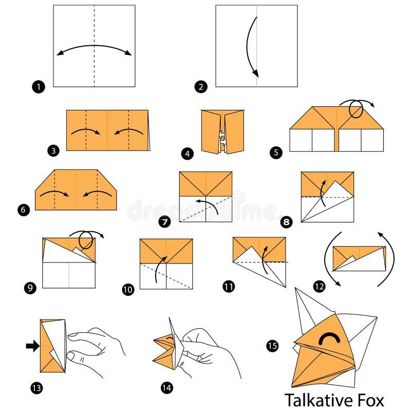Schrittweise Anweisungen, wie man Origami einen gesprächigen Fox macht stock abbildung