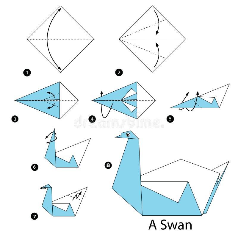 Schrittweise Anweisungen, wie man Origami einen Schwan macht stock abbildung