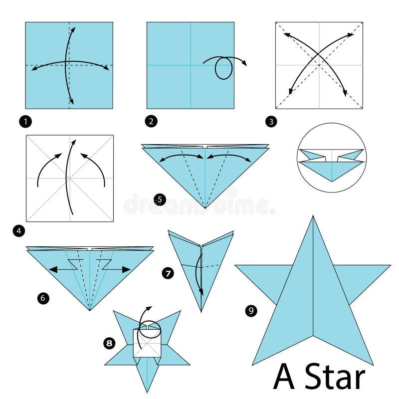 Schrittweise Anweisungen, wie man Origami einen Stern macht vektor abbildung