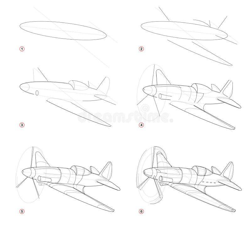 Schrittweise Bleistift-Zeichnung der Schaffung Seite zeigt, wie man Skizze des abgehobenen Betrages von eingebildeten Militärflug stock abbildung
