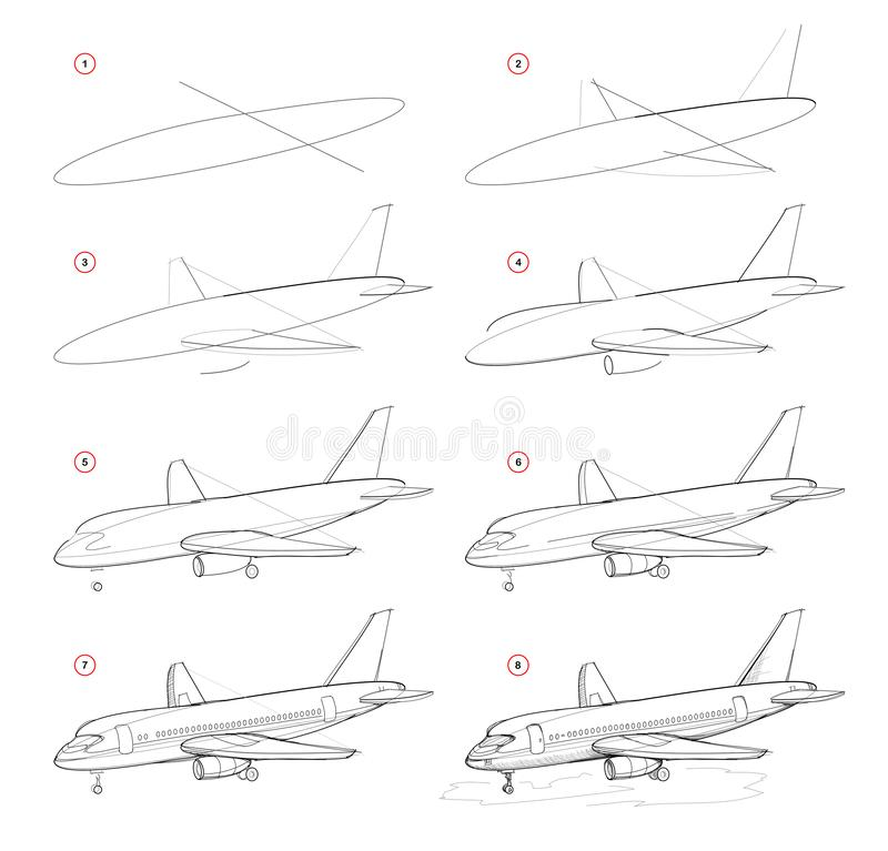 Schrittweise Bleistift-Zeichnung der Schaffung Seite zeigt, wie man Skizze des abgehobenen Betrages von modernen Passagierflugzeu lizenzfreie abbildung
