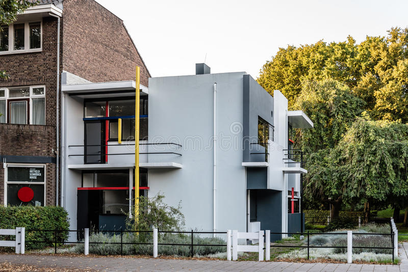 The Schroder House by Gerrit Rietveld in Utrecht, Netherlands. Utrecht, Netherlands - August 4, 2016: The Schroder House designed by architect Gerrit Rietveld royalty free stock photos