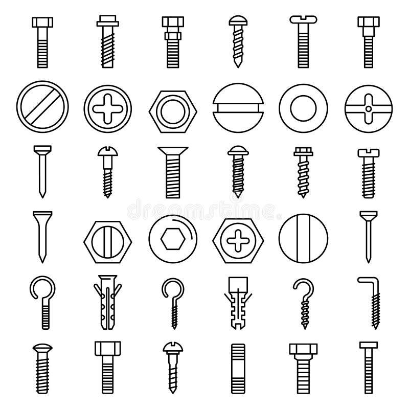 Schroef-bout geplaatste de pictogrammen, schetsen stijl royalty-vrije illustratie