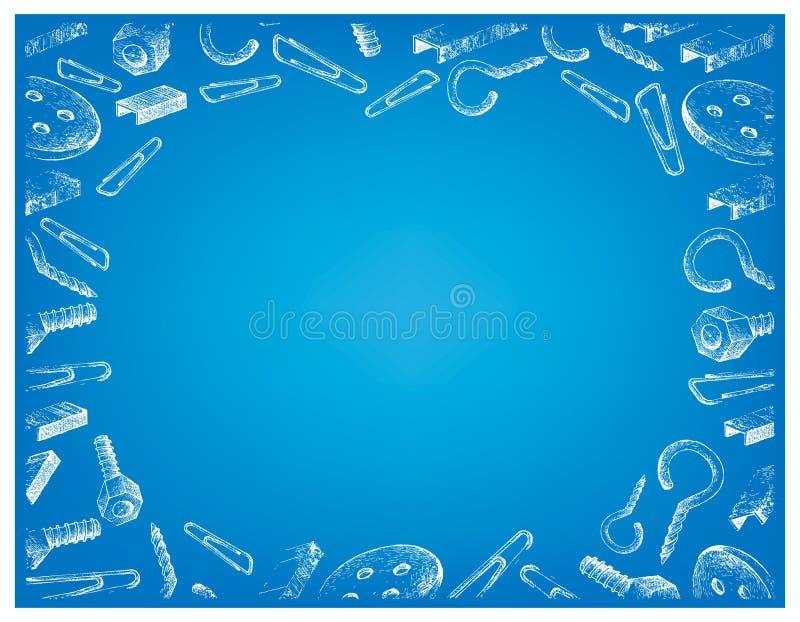 Schroef, Voornaamste Strook, Klem en Knoop op Blauwe Achtergrond stock illustratie