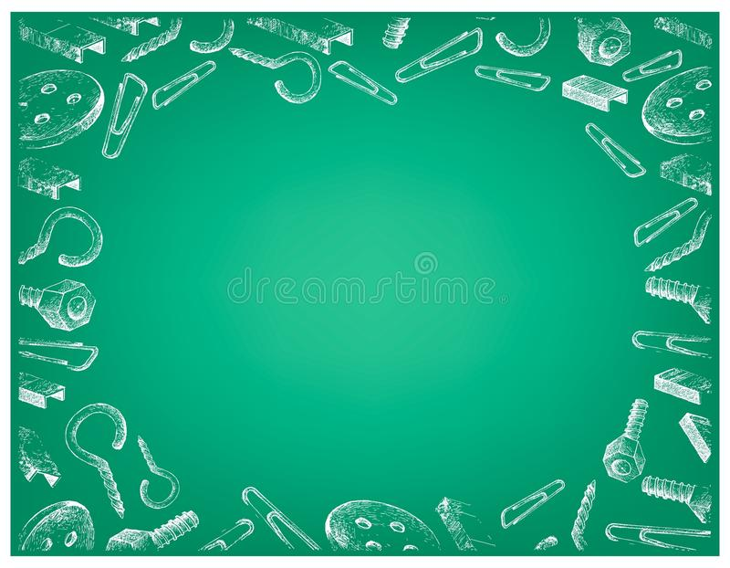 Schroef, Voornaamste Strook, Klem en Knoop op Groene Achtergrond vector illustratie