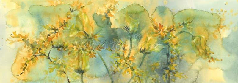 Schroei de gele achtergrond van de tulpenwaterverf, het sterven bloemen royalty-vrije stock foto's