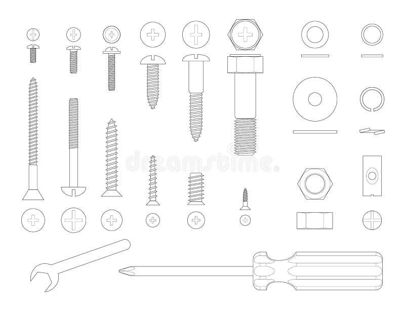 Schroeven en hulpmiddelen stock illustratie