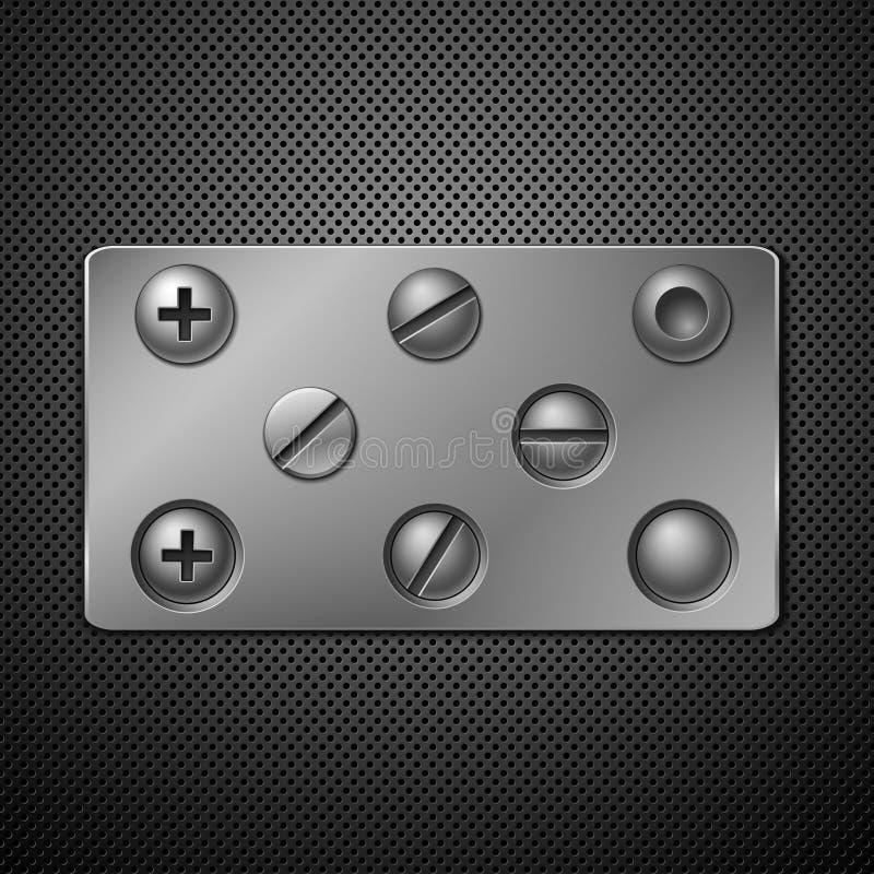 Schroeven en klinknagels. vector illustratie