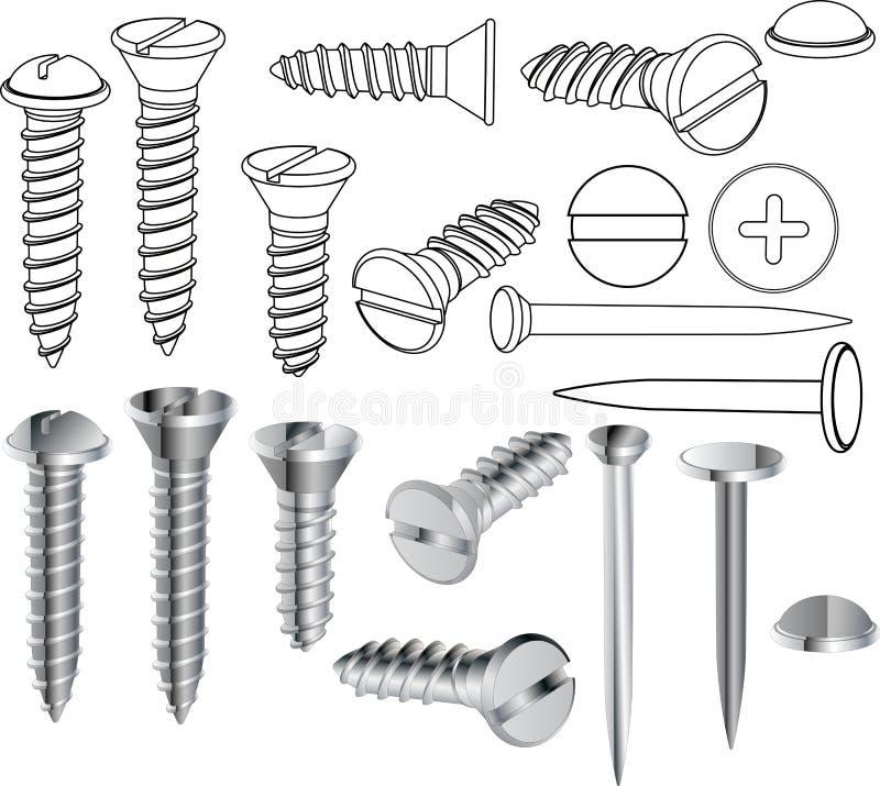 Schroeven en spijkers vector illustratie