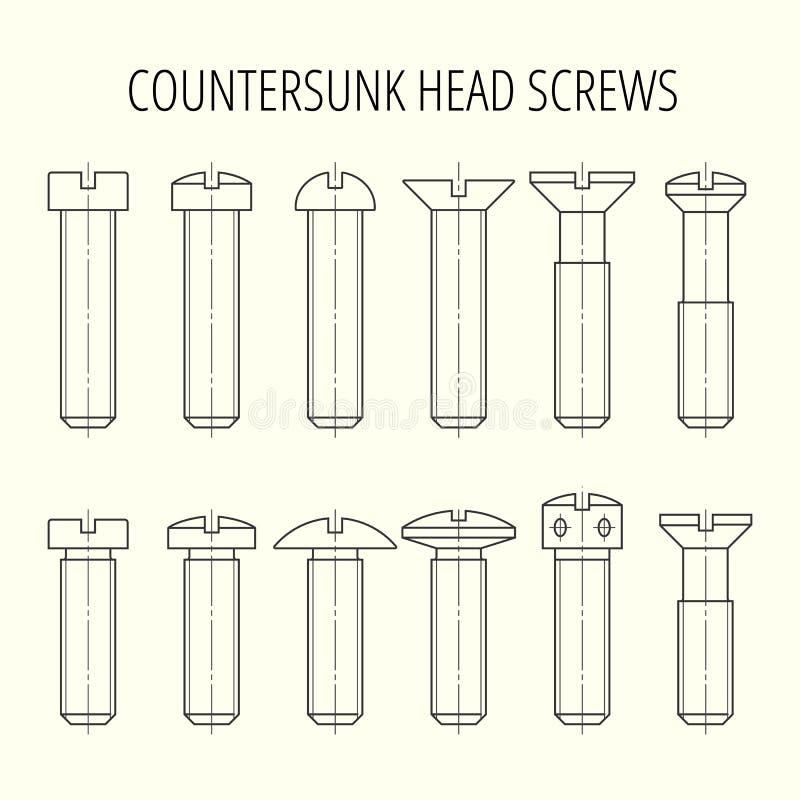Schroeven met verzonken hoofd Verschillende soorten hoofd en lengte royalty-vrije illustratie
