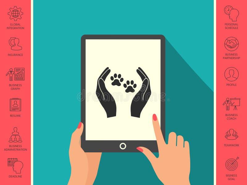 Schronień zwierząt domowych szyldowa ikona Ręka chwytów łapy symbol Zwierzęca ochrona royalty ilustracja