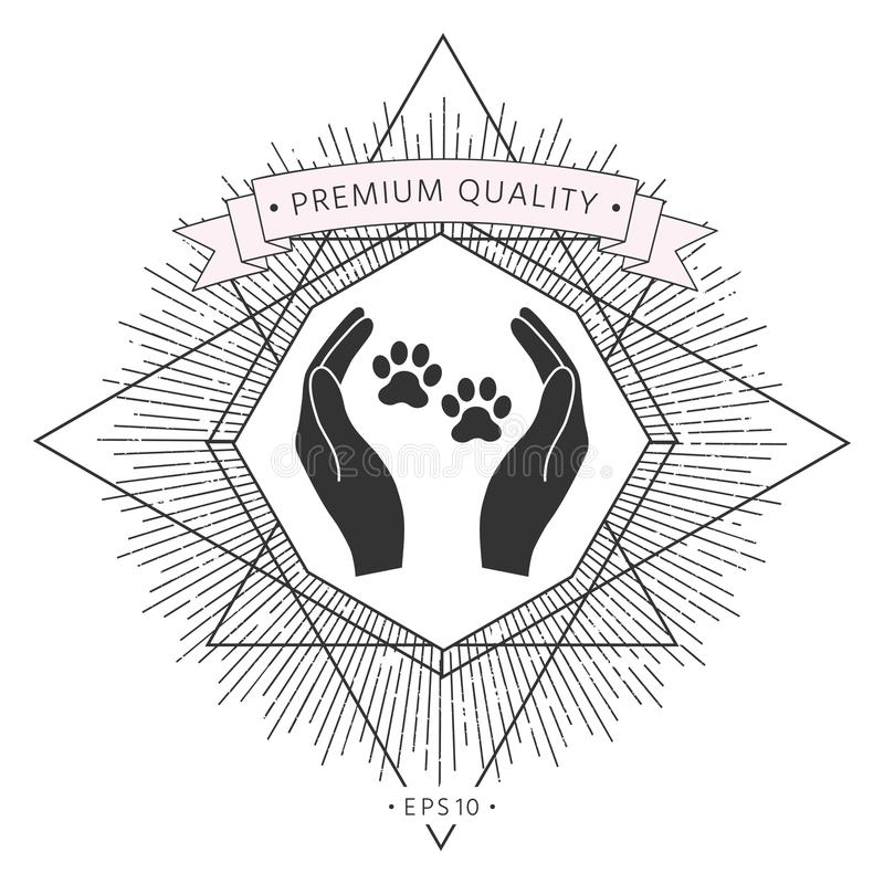 Schronień zwierząt domowych szyldowa ikona Ręka chwytów łapy symbol Zwierzęca ochrona ilustracja wektor