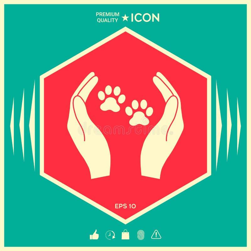 Schronień zwierząt domowych szyldowa ikona Ręka chwytów łapy symbol Zwierzęca ochrona ilustracji