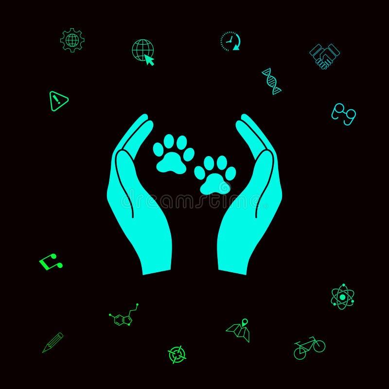 Schronień zwierząt domowych szyldowa ikona Ręka chwytów łapy symbol Zwierzęca ochrona Graficzni elementy dla twój designt ilustracji
