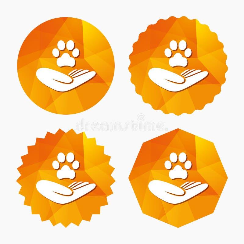 Schronień zwierząt domowych szyldowa ikona Ręka trzyma łapa symbol ilustracja wektor
