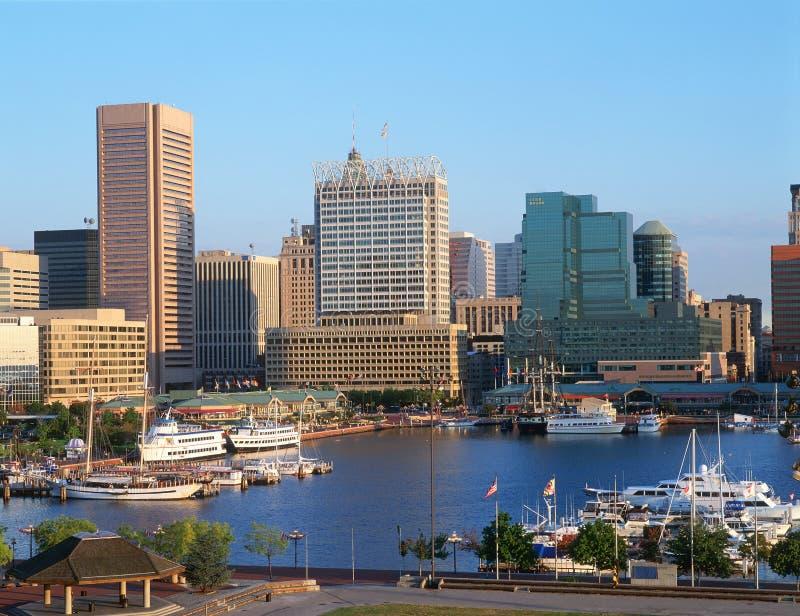 Schronienie i Baltimore, MD linia horyzontu obraz stock