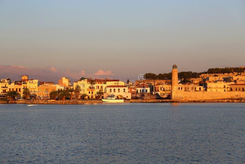 Schronienie w Rethymno przy wschód słońca, Crete wyspa, Grecja obrazy stock