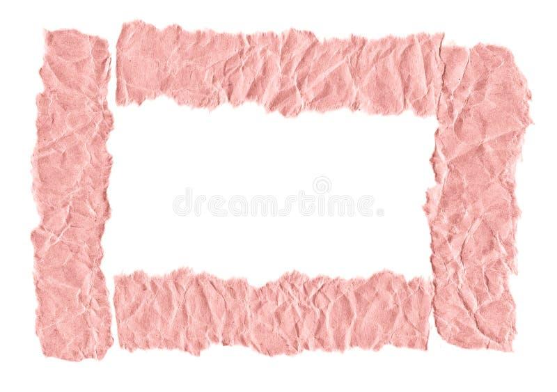 Schroot van roze document op een witte achtergrond Ge?soleerd op wit Klaar kader voor ontwerp, malplaatje stock foto's
