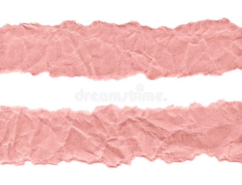 Schroot van roze document op een witte achtergrond Ge?soleerd op wit Klaar kader voor ontwerp, malplaatje royalty-vrije stock foto