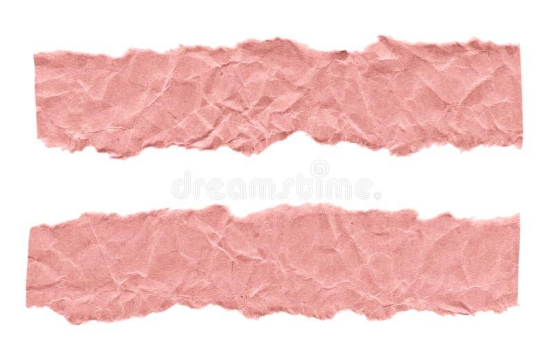Schroot van roze document op een witte achtergrond Ge?soleerd op wit Klaar kader voor ontwerp, malplaatje stock fotografie