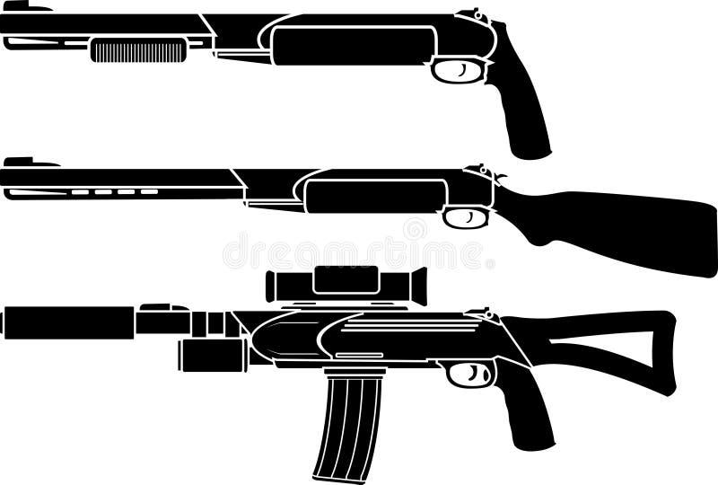 Schrotflinte, Gewehr und Gewehr stock abbildung