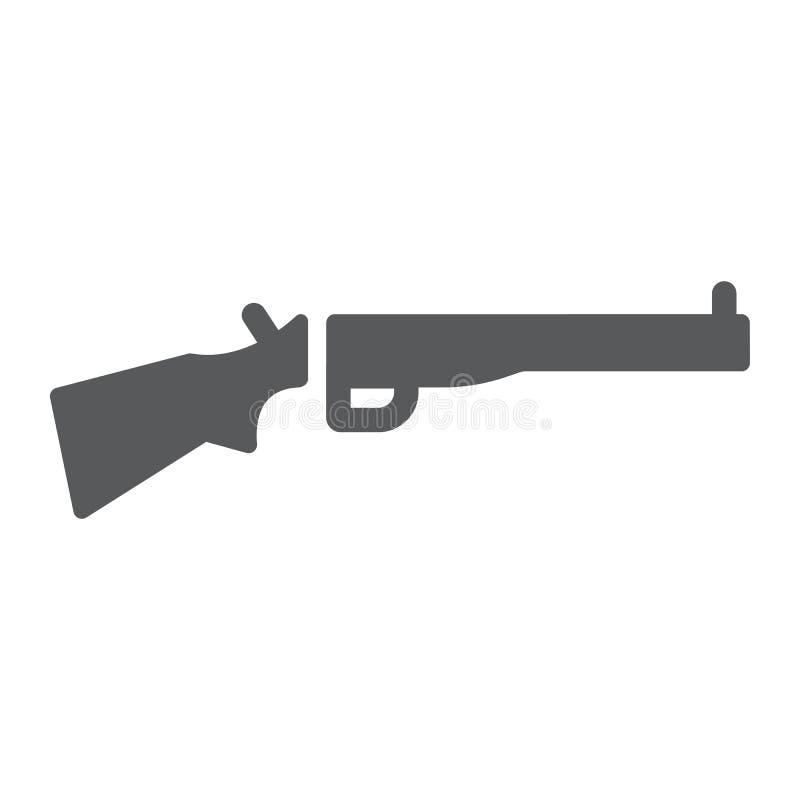 Schrotflinte Glyphikone, Waffe und Militär, Gewehrzeichen, Vektorgrafik, ein festes Muster auf einem weißen Hintergrund stock abbildung