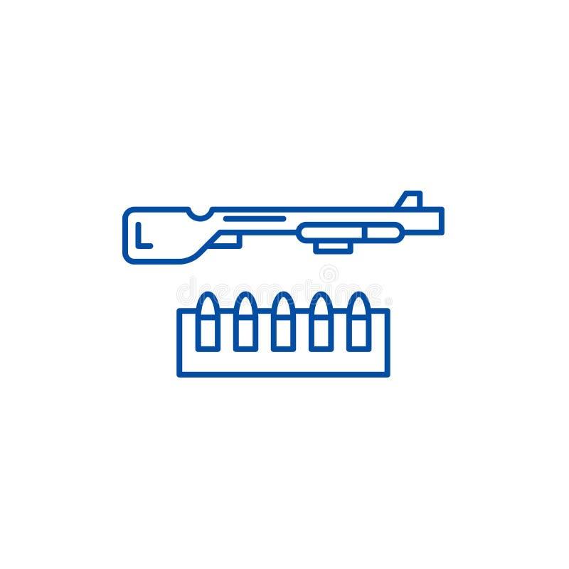 Schrotflinten- und Munitionslinie Ikonenkonzept Flaches Vektorsymbol der Schrotflinte und der Munition, Zeichen, Entwurfsillustra stock abbildung