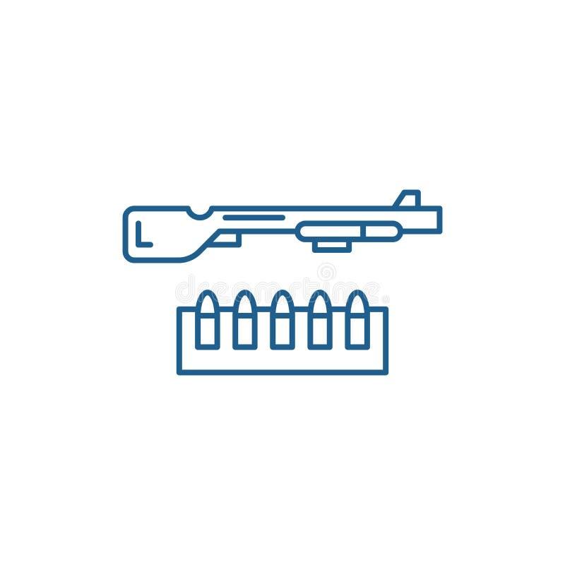 Schrotflinten- und Munitionslinie Ikonenkonzept Flaches Vektorsymbol der Schrotflinte und der Munition, Zeichen, Entwurfsillustra lizenzfreie abbildung