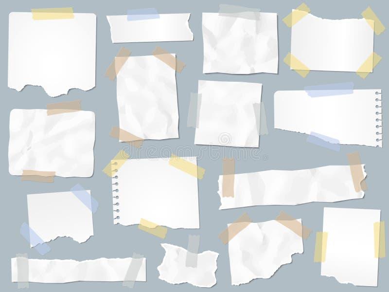 Schrottpapier auf Klebstreifen Weinlese heftige Papiere auf Klebebänden, SchrottSeitenrahmen und Kraftpapieranmerkungsseitenvekto lizenzfreie abbildung