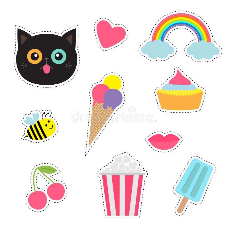 Schrullige Karikaturaufkleber-Fleckenausweise eingestellt Modestiftsammlung Katze, Herz, Regenbogen, Wolke, kleiner Kuchen, Biene lizenzfreie abbildung