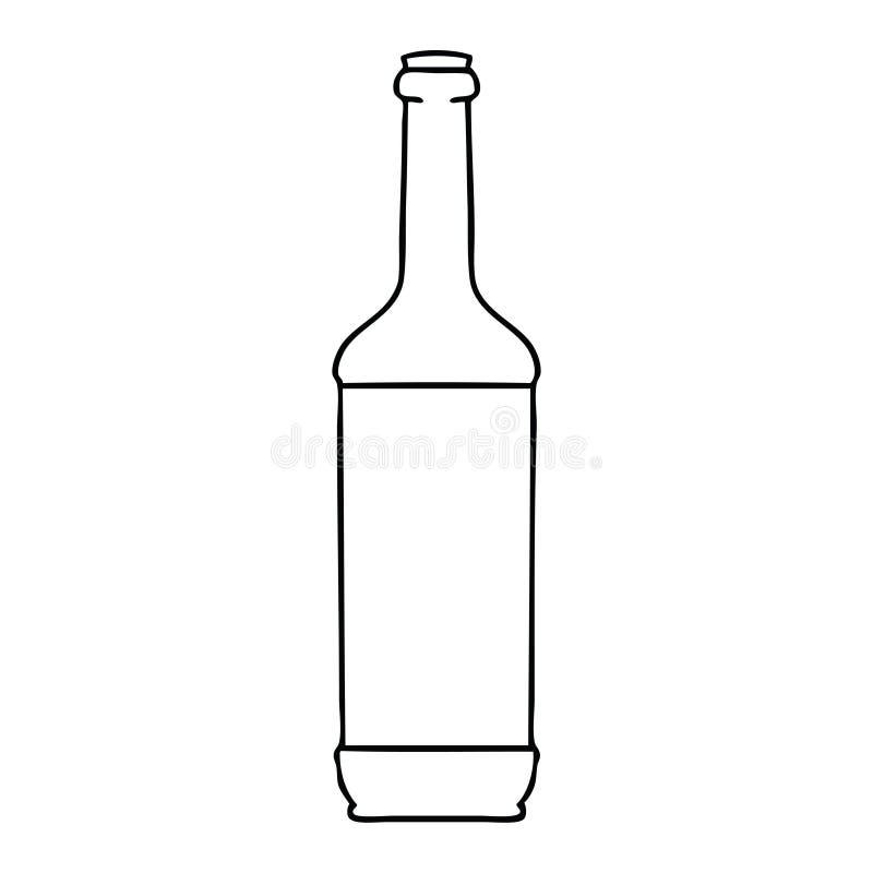 schrulliges Federzeichnungskarikatur-Weinflasche vektor abbildung