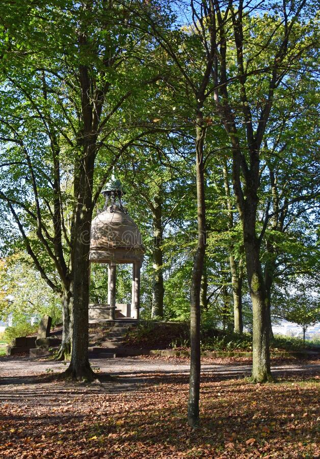 Schubert pavilion on the Schutterlindenberg. View through the trees towards the Schubert pavilion on the Schutterlindenberg summit, a local landmark in Lahr stock image